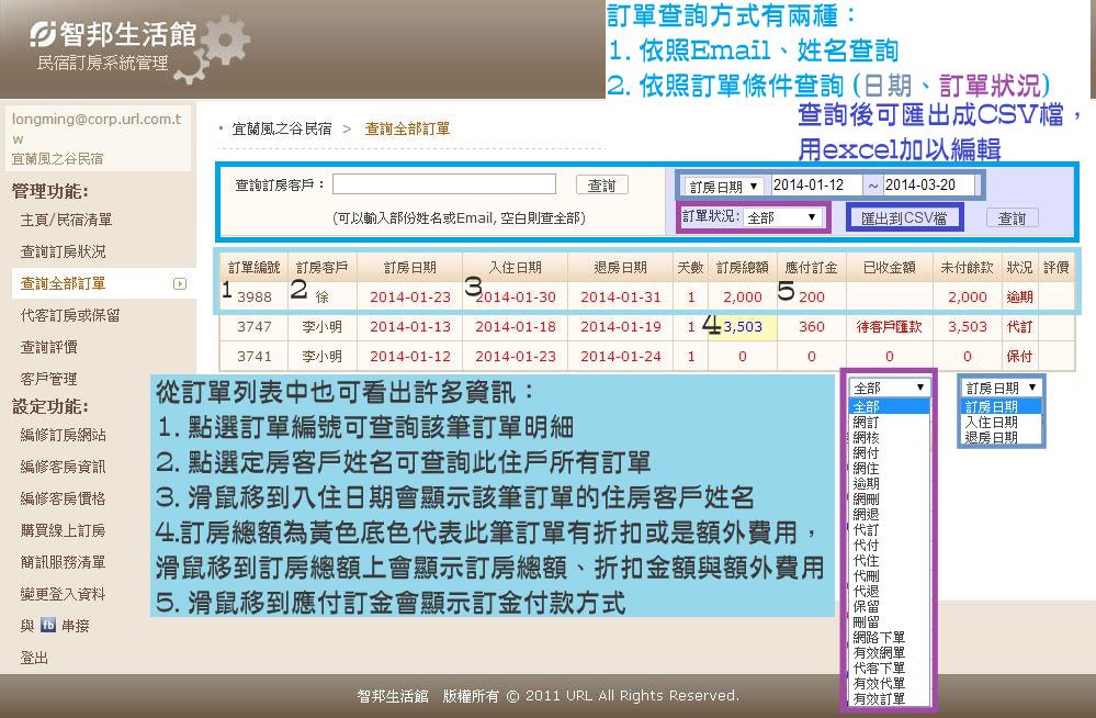 智邦生活館民宿線上訂房系統_查詢全部訂單